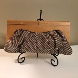 1970's (?) Danish Mod Tweed/Light Wood Clutch Bag